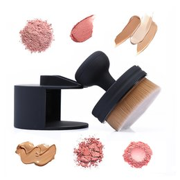 Wholesale Stamp Powder - O! Circle Oval Brush Style Foundation Cosmetics Makeup Air Brush Loose Powder Synthetic Stamp Brush with Package