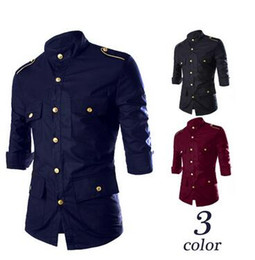 Wholesale Mens Long Sleeve Button Shirt - Multi-Pocket Mens Autumn Shirts Mid Sleeve Solid Casual Dress Shirts For Mens Epaulet Design Men Shirts Metal Button Slim Mens Shirt J160802