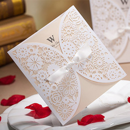 Wholesale White Paper Envelopes - Wholesale- 50pcs Luxury Lace Wedding Invitations Elegant Embossed White Ribbon Butterfly Envelope Paper Printing Wedding Invitations Cards