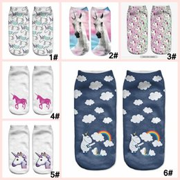Wholesale Girls Doodles - 3D printing unicorn short Sock white unicorn doodle Cotton Socks Lovely Ladies Party Girls boys Sock 7 styles total