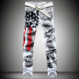 Wholesale Stylish Capris - Wholesale-New Stylish Men Fashion Pants Slim fit Jeans Pants American Flag Straight Jeans