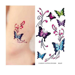 Wholesale Girl Butterfly Tattoos - Colorful Butterfly Tattoo Sticker Waterproof Temporary Tattoos Body Art Beauty Products for girls Waist Shoulder wholesale
