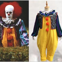 Wholesale Clown Music - IT Pennywise Cosplay Costume Movie Clown Joker Suit Full Outfit Fancy Dress Man Woman Unisex DHL Free Shipping