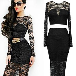 Wholesale Dresses Long Pc - Fashion Lace Two Pieces Dresses Long Sleeve High Quality Sexy Lady 2 pcs Set Summer Black Solid Soft Elastic Fabric Clothes W841212A