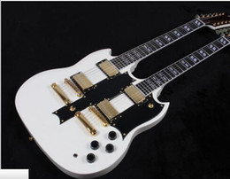 Wholesale Double Neck Oem - hot sell 1275 Double Neck Alpine White 12 6 strings guitar,Golden hardware,Free shipping OEM Accepted