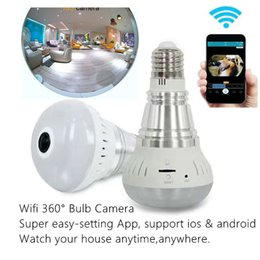 Wholesale Indoor Wireless Cctv - 1080P 360 degree Wireless Bulb Light IP Camera Wi-fi FishEye Full View Mini CCTV Camera 1.3MP Home Security WiFi Camera Panoramic