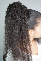 Pedaços de cabelo longo brasileiro on-line-Natural longo kinky encaracolado cabelo virgem rabo de cavalo pedaço clipe em extensões de rabo de cavalo cabelo brasileiro rabo de cavalo cordão rabo de cavalo para as mulheres negras
