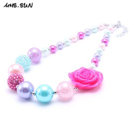 Wholesale Chunky Beads For Jewelry - MHS.SUN Newest Design Hot Pink Color Flower Kid Chunky Necklace Gift Bubblegume Bead Chunky Necklace Jewelry For Baby Kid Girl