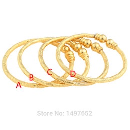Wholesale bangle kid - Luxury Dubai Gold Baby Bangle Jewelry For Boys Girls18K Gold Color Ethiopian Kids Bangles Bracelet Jewelry