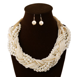 Wholesale American Indian Beaded Necklace - jewelry set Free Shipping Full Pearls Chains jewelry sets luxury necklace & earrings beaded chains fashion jewelry For Wedding Party Dating