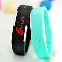 Wholesale Silicone Watch Free Ups - 2016 Sports rectangle led Digital Display touch screen watches Rubber belt silicone bracelets Wrist watches 100pcs UP free shipping