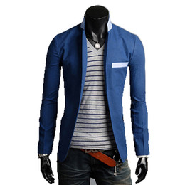 Wholesale Men Colored Blazer - Wholesale- 2016 new solid color cotton thin cheap suits for men groom brightly colored mens blazer a buckle leisure dress suit Men