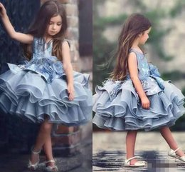 Wholesale Black Lace Mini Dress Shine - Shining Beaded Crystal Flower Girls Dresses 2017 Feather Puffy Ball Gown Tiered Organza Girls Pageant Dress Short Communion Dress