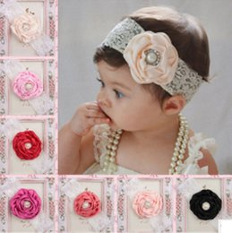 Wholesale hair bow photography - 10 color baby Flower Pearl Headbands Girl Lace Headwear Kids Baby Photography Props NewBorn Bow Hair Accessories Baby Hair bands