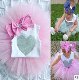 Wholesale Girls Suit Skirt Bow - Baby sets little girls love heart jumpsuits+tulle TUTU skirt+bows hair band 3 pc clothing sets toddler kids summer clothing suits T3586