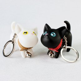 Wholesale Cat Keychain Bell - Meow doll keychain Cat Kitten Keyring Bell Toy couple Lover Key Chain Rings For Handbag cute gift Wedding Favor DHL Free Shipping