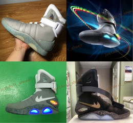 Wholesale Mag Shoes - (Box) Air Mag Marty McFlys Sneakers Glow In The Dark Men's Basketball Shoes Footwear Mag Glow In The Dark Sneaker Gray Men's Shoes