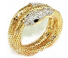 Wholesale Curve Retro - Wholesale- 2016 New Arrival Vintage Punk Rhinestone Curved Stretch Cuff Bracelets & Bangles Retro Snake Bracelet For Women Classic Jewelry
