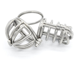 Wholesale Male Chastity Gimp - New Sexy Men Stainless Male Chastity Cage Device Belt Restraint CBT Bondage Fetish Gimp Sex Toys For Men