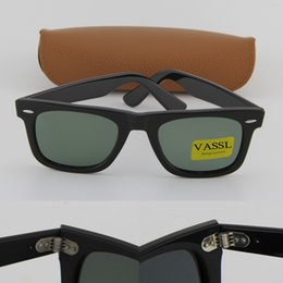 Wholesale Best Brand Sunglasses Men - Free Shipping Vassl Best Quality Black Metal Hinge Frame Green Brand Sunglass Men Women Fashion Sunglasses UV400 Lens 50mm With Brown Box