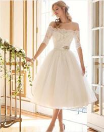 Wholesale Neckline Short Dresses Long Sleeves - Gorgeous Tea-Length Short Wedding Dresses 2016 Bridal Party Dress Bateau Neckline Half Sleeves Lace Appliques Wedding Party Gowns Fashion