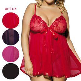 Wholesale Mesh See Through Underwear - Wholesale- Plus Size 5XL 6XL Sexy Women Mesh See Through Intimate Underwear Erotic Lingerie Dress With G-String JL