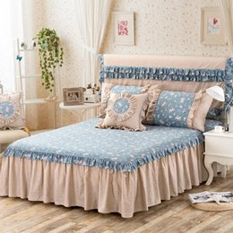 Wholesale 100 Cotton Bed Skirt Bedspread Bedding Set Twin Queen Full Size Bedskirt Fitted Sheet