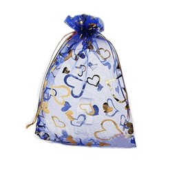 Wholesale Royal Pc - 100 Pcs Royal Blue Love Heart Organza Jewelry Pouch Gift Bags 9X12cm ( 3.5 x 4.7 inch) Drawstring Organza Gift Candy Beads Bags