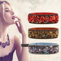 Wholesale Crystal Fashion Bangles - New Fashion Jewelry Charm Bracelet Elegant Women Romantic Natural crystal stone Bracelet Beaded Bangle Wedding Jewellry Gift