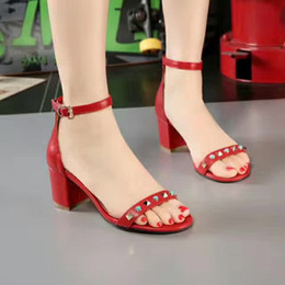 Wholesale Summer Sandals Short Heels - 2017 hot selling girls fashion genuine leather soft red sandals women's casual summer short thick heels sandals quality design shoe 39 #WX17