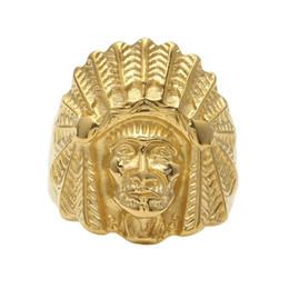 2019 anel de cabeça de ouro indiano Anel de aço inoxidável dos homens das mulheres do vintage hop estilo do punk ouro antigo maya tribal chefe indiano cabeça anéis moda jóias anel de cabeça de ouro indiano barato