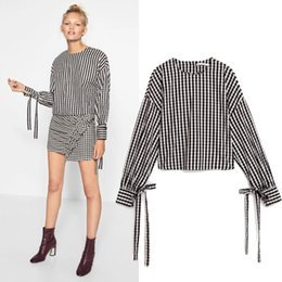 Wholesale Asymmetric Tops For Women - Women Euro Black And White Striped Blouse Asymmetric Length Shirt Flare Sleeve Thin Tops Standard Collar For Summer Spring 2017