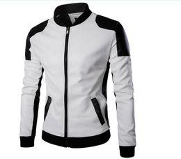 Cool College Baseball Jacket Hombres 2018 Fashion Design Black Pu Leather Sleeve Hombres Slim Fit Varsity Jacket Brand Veste Homme Xxl desde fabricantes