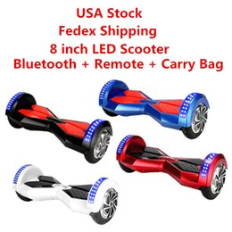 Wholesale Two Wheel Scooter Led Bluetooth - USA Stock LED Scooters Smart Electrics Hoverboard Bluetooth Remote Speaker Skateboard Self Balancing Wheel 8 inch Two Wheels Balance Scooter