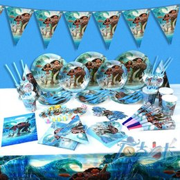 Wholesale Pirate Party Set Decorations - Moana Pirate Kids Birthday Party Decoration Set Cartoon Cups Napkin Hats Supplies Baby Birthday Party Pack Event Birthday Accessory OOA2458