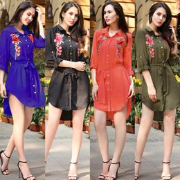 Wholesale Dress Length Ladies Coat - Fashion Quick Sell 2017 Summer Explosion, Long Sleeve Chiffon Shirt, New European and American Foreign Trade Embroidery Lady, Big Size Coat
