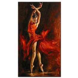 Wholesale handpainted sexy hot dancer canvas painting red dress spanish dancing girl oil painting on canvas art for living room