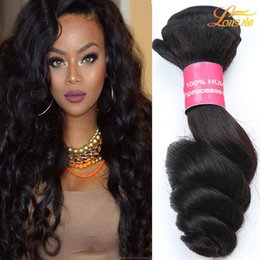 Wholesale Cheap Brazilian Extensions - 8A Brazilian Virgin Hair Loose Wave Unprocessed Brazilian Human Hair Bundle Extension Cheap Brazilian Loose Wave Dyeable Machine Double Weft