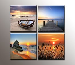 Wholesale Paintings Beach Sunsets - 4 Panel Modern Prints Beach Seascape Painting Sea Boat Sunset Painting Cuadros Wall Picture For Living Room(No Frame)
