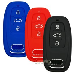 Wholesale Audi Key Remote Button - 3 Buttons Car Key Fob Remote Cover Key Case Skin Holder Protector Shell Keyless For Audi A1 A3 A4 A5 A6 A7 A8 Q5 Q7 R8