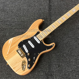 Wholesale Electric St Guitar Body - Ash Body Electric Guitar ST Maple fingerboard Gold parts free shipping in stock