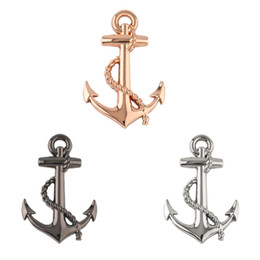 boat stickers Promo Codes - New Black Silver Gold Top Quality Boat Anchor Solid Zinc Alloy Car Styling Emblem 3D Sticker  Grille Cool Exterior Hot Selling