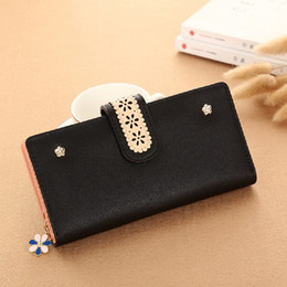 Wholesale Red Flower Purse - YOUYOU MOUSE Flowers Design Women Long Wallets Hollow Out Money Purse Wallet Long Lady Clutch PU Leather Coin Pocket Card Holder