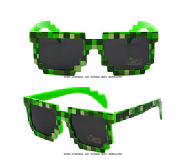 Wholesale Kids Beach Sunglasses - 2017 Deal with it Boys Girls Minecraft Glasses 8 bit Pixel kids Sunglasses Female Male Mosaic Sun Glasses kids Glasses for party vacation