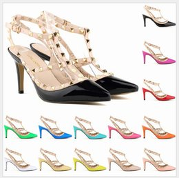 Wholesale Sexy Orange High Heel Sandals - Sexy Pointed Toe Med High Heels Summer Womens Wedding Fashion Buckle Studded Stiletto High Heel Sandals Shoes