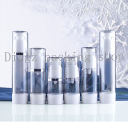 Wholesale Used Airless - 20pcs lot,15ml transparent airless vacuum pump lotion bottle with silver line used for Cosmetic Container