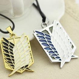 Wholesale Freedom Alloys - Wholesale-Top Grade Anime Attack On Titan Wings Of Freedom Recon Corps Statement Necklace Enamel Women And Men Rope Pendant Necklaces Gift