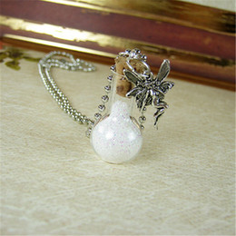 Wholesale glass christmas bulbs - 12pcs lot Fairy Dust necklace Fairytale Pixie Dust Fairies Charm Bulb glass Bottle Pendant jewelry
