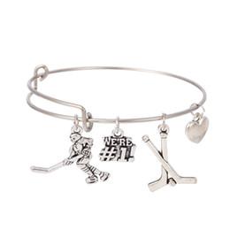 Wholesale Ice Hockey Jewelry - Myshape Cool Fashion Stainless Steel DIY Charms Bracelet Diameter 70mm Sportsman Jewelry Hockey Ice Ball Pendant Bangle Wristbands
