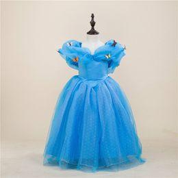 Wholesale Shorts Children S Skirts - Cinderella Dress Children Evening Dress Chindren Day Puff Skirt Blue Butterfly Polyester Lovely Lolita Stage Performance